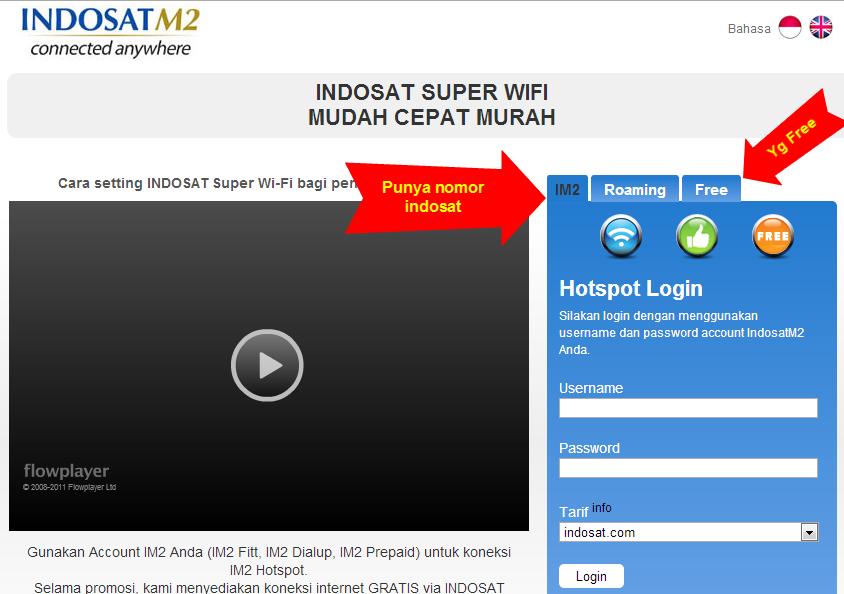 Halaman Login Indosat, Pilih IndosatM2 jika punya nomor Indosat atau Free *bisa pake nomor lain :P